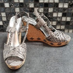 Not rated gray animal print wedges size 11